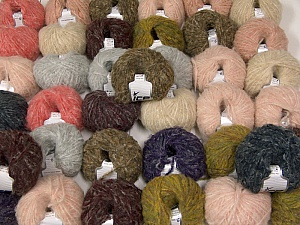 Kan Mohair This mixed lot includes a total of 2000 gr (70.5 oz.) yarn. There is no standard for ball weight. Also disregard any information on the labels. You will get what you see in the photo. Fiber Content 45% Acrylic, 25% Wool, 20% Mohair, 10% Polyamide, Brand ICE, fnt2-60773