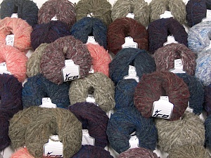 Kan Mohair This mixed lot includes a total of 2000 gr (70.5 oz.) yarn. There is no standard for ball weight. Also disregard any information on the labels. You will get what you see in the photo. Fiber Content 45% Acrylic, 25% Wool, 20% Mohair, 10% Polyamide, Brand ICE, fnt2-60775