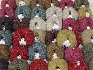 Kan Mohair This mixed lot includes a total of 2000 gr (70.5 oz.) yarn. There is no standard for ball weight. Also disregard any information on the labels. You will get what you see in the photo. Fiber Content 45% Acrylic, 25% Wool, 20% Mohair, 10% Polyamide, Brand ICE, fnt2-60790