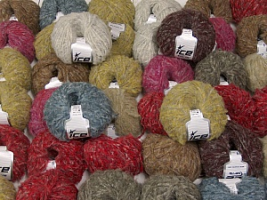 Kan Mohair This mixed lot includes a total of 2000 gr (70.5 oz.) yarn. There is no standard for ball weight. Also disregard any information on the labels. You will get what you see in the photo. Fiber Content 45% Acrylic, 25% Wool, 20% Mohair, 10% Polyamide, Brand ICE, fnt2-60791