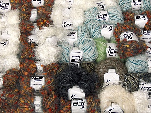 Eyelash Types This mixed lot includes a total of 2000 gr (70.5 oz.) leftover yarns. There is no standard for fiber content and weight. Also disregard any information on the labels. You will get what you see in the photo. Brand ICE, fnt2-60802