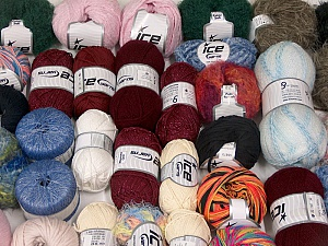 Fancy Yarns This mixed lot includes a total of 2000 gr (70.5 oz.) yarn. There is no standard for ball weight. Also disregard any information on the labels. You will get what you see in the photo. Brand ICE, fnt2-60820
