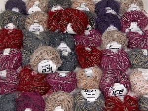 Eyelash Blends This mixed lot includes a total of 2000 gr (70.5 oz.) yarn. There is no standard for ball weight. Also disregard any information on the labels. You will get what you see in the photo. Brand ICE, fnt2-60822