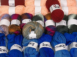 Fancy Yarns This mixed lot includes a total of 2000 gr (70.5 oz.) yarn. There is no standard for ball weight. Also disregard any information on the labels. You will get what you see in the photo. Brand ICE, fnt2-61042