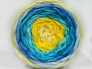 Fiber Content 100% Acrylic, Yellow Shades, Turquoise Shades, Brand ICE, Yarn Thickness 4 Medium  Worsted, Afghan, Aran, fnt2-61171