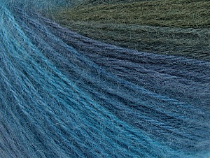 Fiber Content 60% Acrylic, 20% Wool, 20% Angora, Brand ICE, Grey, Blue Shades, Yarn Thickness 2 Fine  Sport, Baby, fnt2-61202