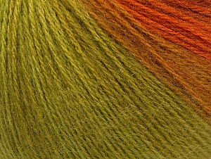 Fiber Content 60% Acrylic, 20% Wool, 20% Angora, Orange Shades, Brand ICE, Green Shades, Yarn Thickness 2 Fine  Sport, Baby, fnt2-61206