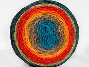 Fiber Content 70% Premium Acrylic, 30% Wool, Turquoise, Orange, Brand ICE, Green, Camel, Blue Shades, Yarn Thickness 3 Light  DK, Light, Worsted, fnt2-61236