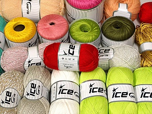 Summer Yarns This mixed lot includes a total of 2000 gr (70.5 oz.) yarn. There is no standard for ball weight. Also disregard any information on the labels. You will get what you see in the photo. Brand ICE, fnt2-61265