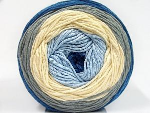 Fiber Content 50% Cotton, 50% Acrylic, Light Blue, Brand ICE, Grey, Cream, Blue, Yarn Thickness 3 Light  DK, Light, Worsted, fnt2-61791