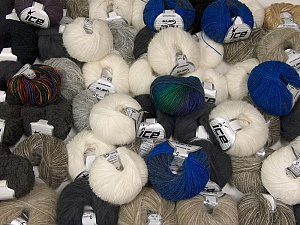 Winter Yarns This mixed lot includes a total of 2000 gr (70.5 oz.) yarn. There is no standard for ball weight. Also disregard any information on the labels. You will get what you see in the photo. Brand ICE, fnt2-61995