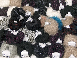 Eyelash Blends This mixed lot includes a total of 2000 gr (70.5 oz.) yarn. There is no standard for ball weight. Also disregard any information on the labels. You will get what you see in the photo. Brand ICE, fnt2-62019
