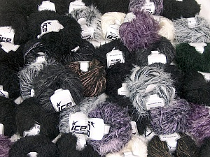 Eyelash Blends This mixed lot includes a total of 2000 gr (70.5 oz.) yarn. There is no standard for ball weight. Also disregard any information on the labels. You will get what you see in the photo. Brand ICE, fnt2-62022