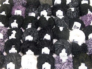 Eyelash Blends This mixed lot includes a total of 2000 gr (70.5 oz.) yarn. There is no standard for ball weight. Also disregard any information on the labels. You will get what you see in the photo. Brand ICE, fnt2-62024