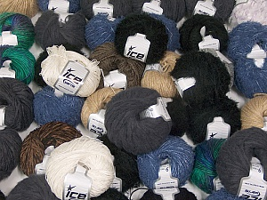 Custom Blends This mixed lot includes a total of 2000 gr (70.5 oz.) yarn. There is no standard for ball weight. Also disregard any information on the labels. You will get what you see in the photo. Brand ICE, fnt2-62039