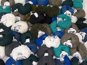 Custom Blends This mixed lot includes a total of 2000 gr (70.5 oz.) yarn. There is no standard for ball weight. Also disregard any information on the labels. You will get what you see in the photo. Brand ICE, fnt2-62040