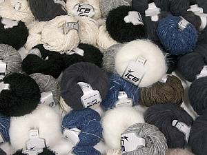 Custom Blends This mixed lot includes a total of 2000 gr (70.5 oz.) yarn. There is no standard for ball weight. Also disregard any information on the labels. You will get what you see in the photo. Brand ICE, fnt2-62041
