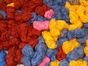 Angora - Mohair Leftover This lot consists of more than 100 hanks of yarn. The total weight is 2000 gr (70.5 oz.). Brand ICE, fnt2-62050