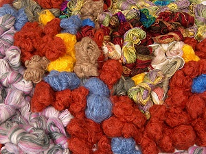 Angora - Mohair Leftover This lot consists of more than 100 hanks of yarn. The total weight is 2000 gr (70.5 oz.). Brand ICE, fnt2-62051