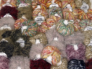 Eyelash Blends This mixed lot includes a total of 2000 gr (70.5 oz.) yarn. There is no standard for ball weight. Also disregard any information on the labels. You will get what you see in the photo. Brand ICE, fnt2-62054