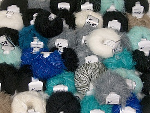 Eyelash Blends This mixed lot includes a total of 2000 gr (70.5 oz.) yarn. There is no standard for ball weight. Also disregard any information on the labels. You will get what you see in the photo. Brand ICE, fnt2-62055