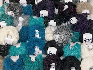 Eyelash Blends This mixed lot includes a total of 2000 gr (70.5 oz.) yarn. There is no standard for ball weight. Also disregard any information on the labels. You will get what you see in the photo. Brand ICE, fnt2-62056