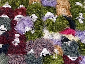 Eyelash Blends This mixed lot includes a total of 2000 gr (70.5 oz.) yarn. There is no standard for ball weight. Also disregard any information on the labels. You will get what you see in the photo. Brand ICE, fnt2-62062