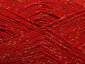 Fiber Content 75% Viscose, 25% Metallic Lurex, Red, Brand ICE, Gold, fnt2-62240