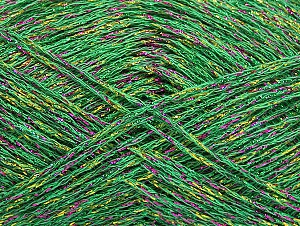 Fiber Content 75% Viscose, 25% Metallic Lurex, Brand ICE, Green, Gold, Fuchsia, fnt2-62252