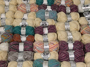 Fancy Yarns This mixed lot includes a total of 2000 gr (70.5 oz.) yarn. There is no standard for ball weight. Also disregard any information on the labels. You will get what you see in the photo. Brand ICE, fnt2-62326