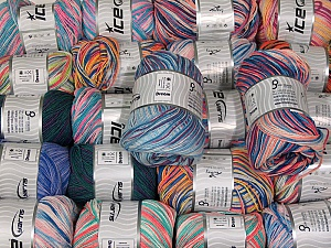 Dream This mixed lot includes a total of 2000 gr (70.5 oz.) yarn. There is no standard for ball weight. Also disregard any information on the labels. You will get what you see in the photo. Fiber Content 100% Acrylic, Brand ICE, fnt2-62449