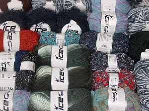 Fancy Yarns This mixed lot includes a total of 2000 gr (70.5 oz.) yarn. There is no standard for ball weight. Also disregard any information on the labels. You will get what you see in the photo. Brand ICE, fnt2-62481