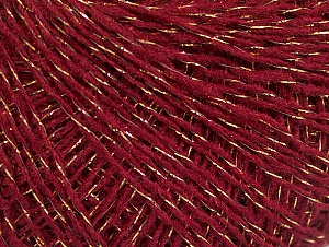 Fiber Content 45% Acrylic, 45% Wool, 10% Metallic Lurex, Brand ICE, Gold, Dark Pink, Yarn Thickness 1 SuperFine  Sock, Fingering, Baby, fnt2-62569