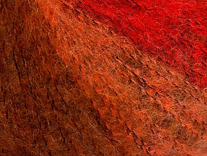Knitted as 4 ply Fiber Content 40% Polyamide, 30% Kid Mohair, 30% Acrylic, Red Shades, Brand ICE, Gold Shades, fnt2-62666
