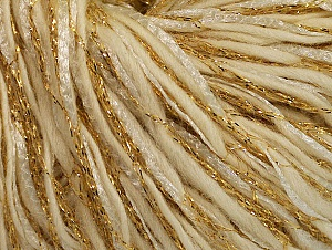 Metallic  Fiber Content 60% Wool, 30% Polyamide, 10% Metallic Lurex, Brand ICE, Gold, Cream, fnt2-62986