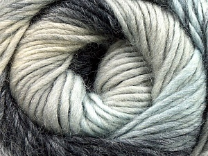 A self-striping yarn, which gets its design when knitted Fiber Content 100% Wool, White, Brand KUKA, Grey, Blue, Black, Yarn Thickness 4 Medium  Worsted, Afghan, Aran, fnt2-16867