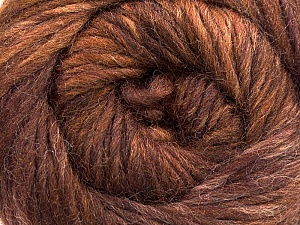 A self-striping yarn, which gets its design when knitted Fiber Content 100% Wool, Maroon, Brand KUKA, Brown Shades, Yarn Thickness 4 Medium  Worsted, Afghan, Aran, fnt2-16876