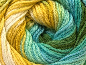 Fiber Content 100% Acrylic, White, Turquoise, Brand ICE, Green, Blue, Yarn Thickness 3 Light  DK, Light, Worsted, fnt2-22028