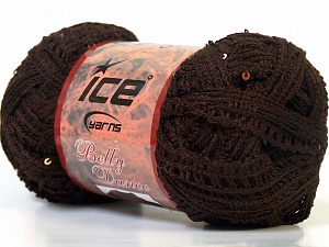 A classic mesh-type scarf yarn with sequins on one side. Fiber Content 95% Acrylic, 5% Sequin, Brand ICE, Brown, Yarn Thickness 6 SuperBulky  Bulky, Roving, fnt2-23385