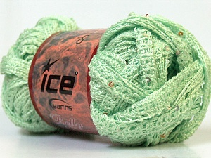 A classic mesh-type scarf yarn with sequins on one side. Fiber Content 95% Acrylic, 5% Sequin, Mint Green, Brand ICE, Yarn Thickness 6 SuperBulky  Bulky, Roving, fnt2-23819