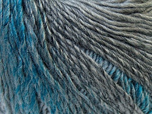 Fiber Content 50% Wool, 50% Acrylic, Turquoise, Brand ICE, Grey Shades, Yarn Thickness 3 Light  DK, Light, Worsted, fnt2-27152