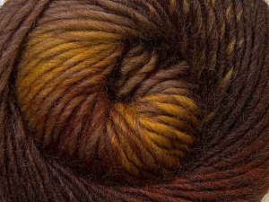 A self-striping yarn, which gets its design when knitted Fiber Content 100% Wool, Yellow, Brand KUKA, Brown Shades, Yarn Thickness 4 Medium  Worsted, Afghan, Aran, fnt2-31643