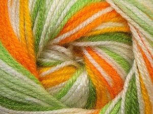 Fiber Content 100% Premium Acrylic, Yellow, White, Orange, Brand ICE, Green Shades, Yarn Thickness 3 Light  DK, Light, Worsted, fnt2-33398