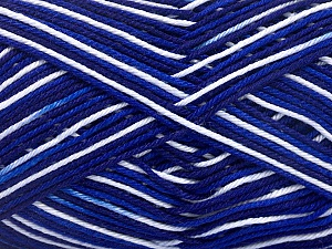 Ne: 8/4. Nm 14/4 Fiber Content 100% Mercerised Cotton, White, Navy, Brand ICE, Blue, Yarn Thickness 2 Fine  Sport, Baby, fnt2-34756