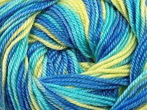 Fiber Content 60% Premium Acrylic, 40% Merino Wool, Yellow, Turquoise, Brand Ice Yarns, Blue, Yarn Thickness 2 Fine  Sport, Baby, fnt2-35580