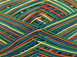 Ne: 8/4. Nm 14/4 Fiber Content 100% Mercerised Cotton, Yellow, Orange, Brand ICE, Green, Blue, Yarn Thickness 2 Fine  Sport, Baby, fnt2-36283