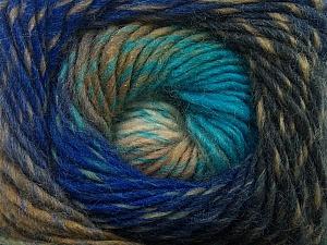 Fiber Content 70% Dralon, 30% Wool, Turquoise, Brand Ice Yarns, Grey, Camel, Blue Shades, Yarn Thickness 4 Medium  Worsted, Afghan, Aran, fnt2-42762