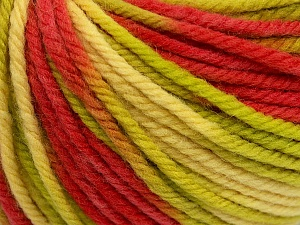 SUPERWASH WOOL BULKY is a bulky weight 100% superwash wool yarn. Perfect stitch definition, and a soft-but-sturdy finished fabric. Projects knit and crocheted in SUPERWASH WOOL BULKY are machine washable! Lay flat to dry. Fiber Content 100% Superwash Wool, Red, Brand ICE, Green, Cream, Yarn Thickness 5 Bulky  Chunky, Craft, Rug, fnt2-42853