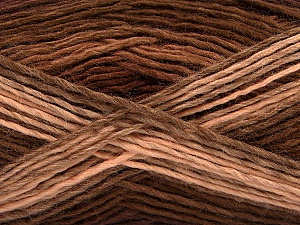 This is a self-striping yarn. Please see package photo for the color combination. Fiber Content 100% Acrylic, Brand ICE, Cafe Latte, Brown Shades, Yarn Thickness 3 Light  DK, Light, Worsted, fnt2-46808