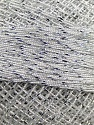 Fiber Content 70% Polyester, 30% Metallic Lurex, Brand YarnArt, White, Silver, Yarn Thickness 0 Lace  Fingering Crochet Thread, fnt2-17343